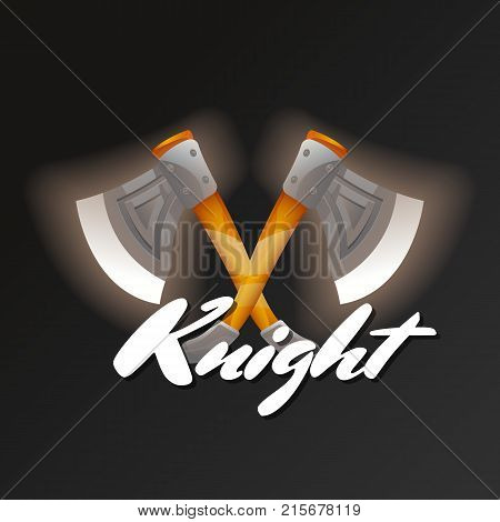 Knight game element with crossed tomahawks. Shiny medieval weapon for computer game design. Confrontation versus sign, fight opposition concept, epic battle competition vector illustration.