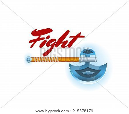 Viking fight game element with hatchet. Shiny medieval weapon for computer game design. Confrontation versus sign, fight opposition concept, epic battle competition vector illustration.