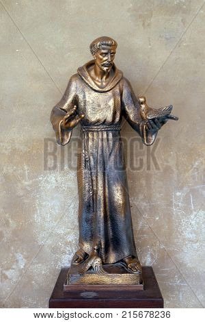 MANTUA, ITALY - JUNE 04: Sain Francis of Assisi statue in Saint Francis church in Mantua, Italy on June 04, 2017.