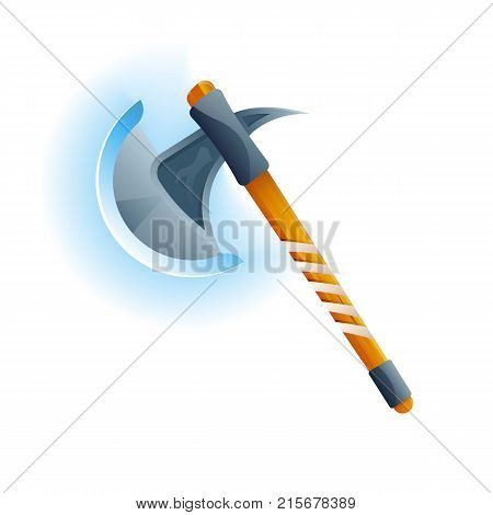 Fantasy medieval hatchet icon. Decoration weapon for computer game design. Ancient viking arms isolated vector illustration.