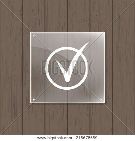 Square glass plate with space for message on wooden background. Geometric nameplate, blank glass framework, clear acrylic signboard design, glassy signage template vector illustration. poster