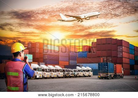 Business logistic concept, Foreman control loading Containers box Containers shipping, forklift handling container box loading for logistic Import Export background
