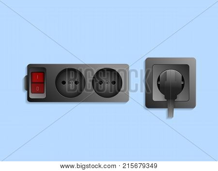 Realistic black electric outlet with button and plug. Power plug and socket, energy switch, isolated on blue background vector illustration. Electrictric equipment for house interior wall installation
