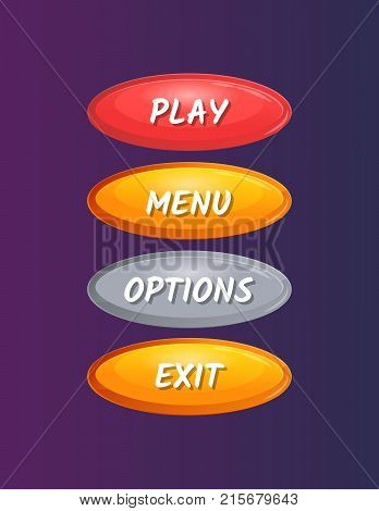 Colorful oval options selection windows for user interface. Play, menu, options and exit cartoon buttons. Bright game design isolated vector illustration