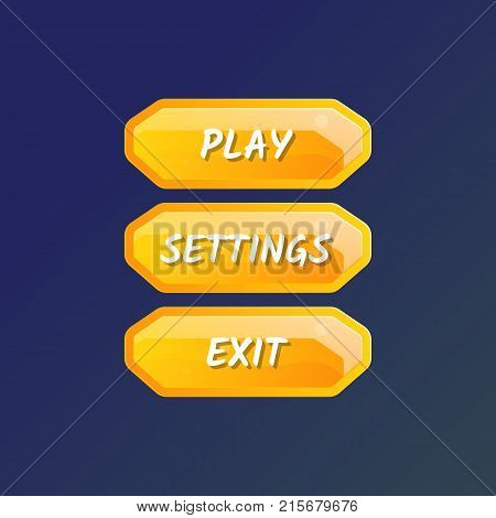 Cartoon designed game user interface. Play, settings and exit cartoon buttons, options selection windows panel. Bright design isolated vector illustration