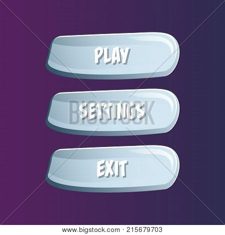Blue cartoon options selection windows. Play, settings and exit buttons. Bright user game design isolated vector illustration
