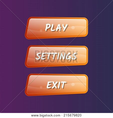Orange game user interface set in cartoon style. Play, settings and exit buttons. Bright options selection, windows design isolated vector illustration