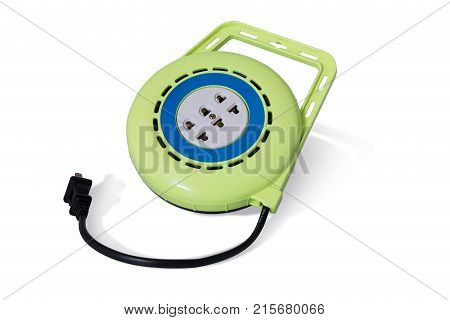 Green Extension Electric Cable Reel Image & Photo | Bigstock