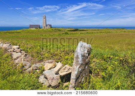Normandy landscape on Cotentin peninsula with Cap Levi lighthouse
