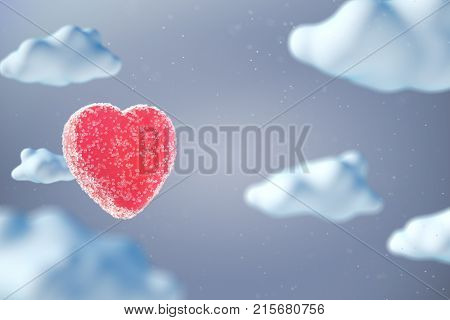 Sweet jelly bean heart shape among cartoon style clouds. St Valentine background. 3D render.