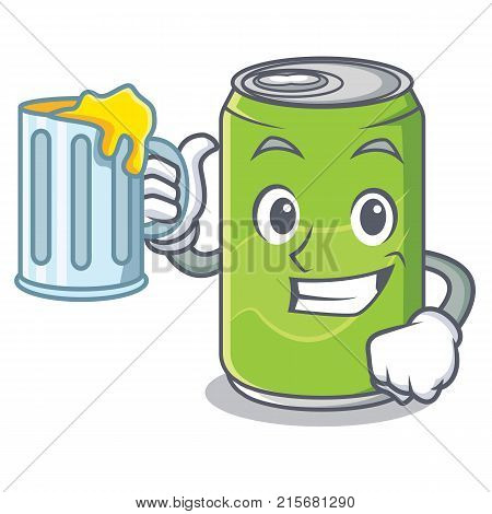 With juice soft drink character cartoon vector illustration