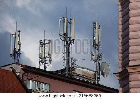 Cell sites on the roof in Olomouc, Czech Republic.
