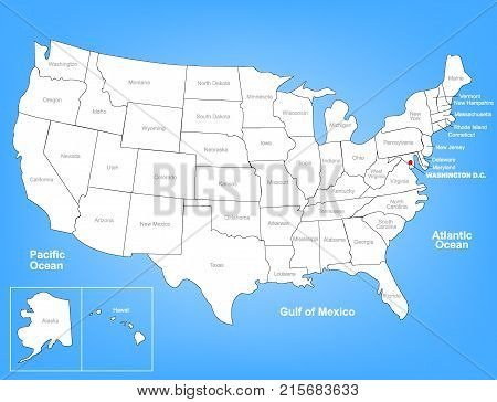 Vector Map of the United States Highlighting Washington D.C.