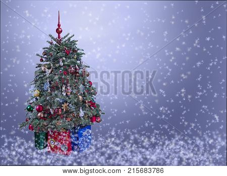 Christmas tree with ornaments and gifts on silver snowy background..