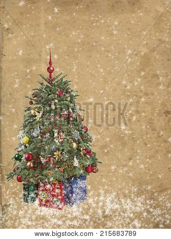 Christmas tree with ornaments and gifts on grunge background.