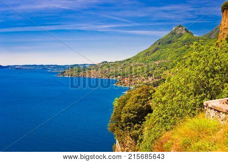 Garda Lake West Coast Cliffside View Near Limone