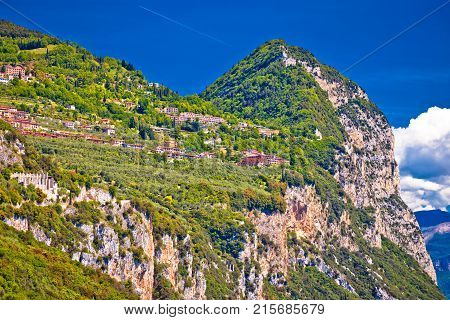Garda Lak Cliffside Villages Of Gardola And Oldesio With Madonna Di Montecastello Hermitage On The R