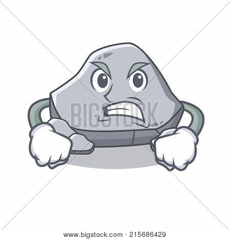 Angry stone character cartoon style vector illustration
