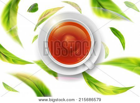 3d illustration with green tea leaves in motion on a white background and  ceramic mug with saucer with black tea. Element for design, advertising, packaging of tea products