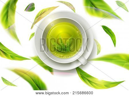 3d illustration with green tea leaves in motion on a white background and  ceramic mug with saucer with green tea. Element for design, advertising, packaging of tea products