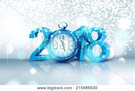 illustration. 3d blue digits 2018, with an old clock instead of zero on a bright, luminous background . Holiday background for the new year. Element for the design of a greeting card for  New Year