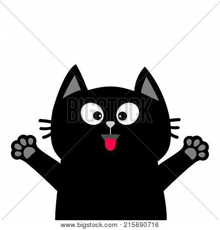 Black cat face head tongue paw print silhouette. Adopt me. Cute cartoon character. Help animal Pet adoption Flat design White background. Isolated. Vector illustration