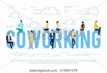 Coworking. Business concept with young people using laptops and smartphones. Can be used in the design of the site header banners posters. Vector illustration.