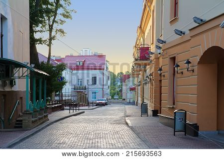 View Of A Narrow Street In Grodno Belarus