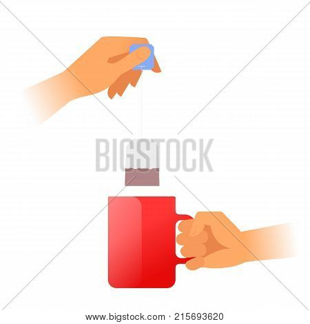 Human hands is holding a red teacup and brewing tea. Hand holds by the handle the hot mug with steam and another holds the tea bag. Flat vector illustration. Material design element isolated on white.