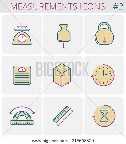 Dimensions and measurements outline icon set: weight, height, width, depth, size, length, angle, time. Vector thin line measure symbols. Isolated linear infographic elements for web, social network.