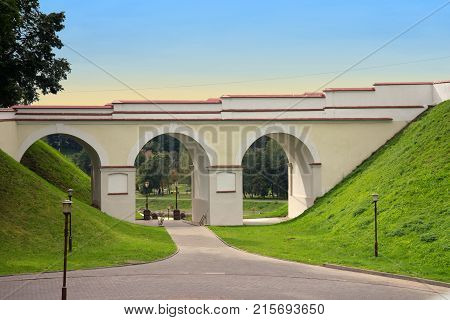 Arch of an old castle in Grodno Belarus.