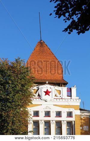 Red star soviet symbol on the roof in Grodno Belarus