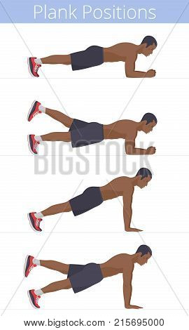 The muscular naked to the waist black young man in the various plank positions. Afro-american strong adult boy is doing the plank exercises and training in the plank postures. Flat vector illustration