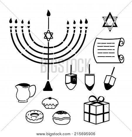 Hanukkah. A set of traditional attributes of the menorah, dreidel, candles, olive oil, Torah, donuts. Line Icons
