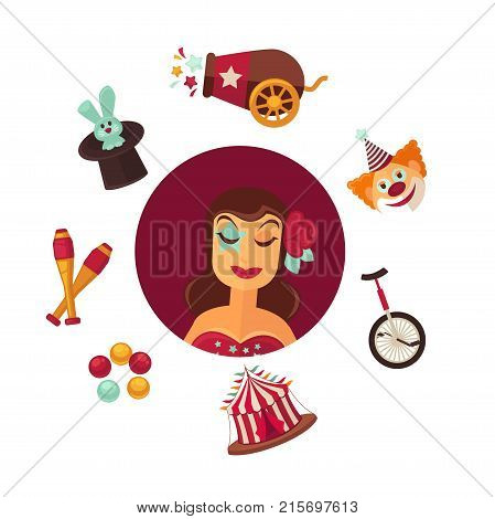 Female circus performer and equipment isolated vector illustrations. Woman with rose in hair, funny clown, special unicycle, striped tent, things for juggling, rabbit in hat and special cannon.