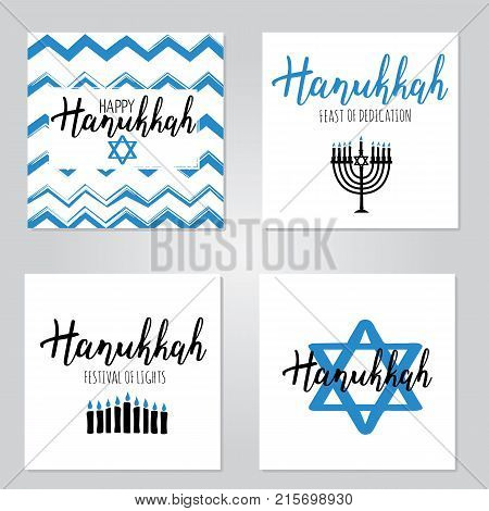 Vector illustration set of Happy Hanukkah. Lettering text sign isolated on white background. Judaism symbol. Hanukkah logo for greeting card template