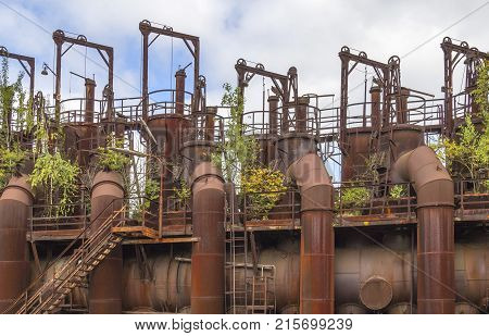 weathered rusty industrial scenery with old corroded objects