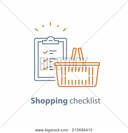 Grocery order, food and drink, shopping checklist and products, consumption concept, retail store offer, clipboard vector line icon, thin stroke