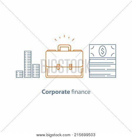 Corporate finance, business loan, company expenses, financial services, money bundle, briefcase, mutual fund, management and accountancy, share holders, vector line icon, thin stroke