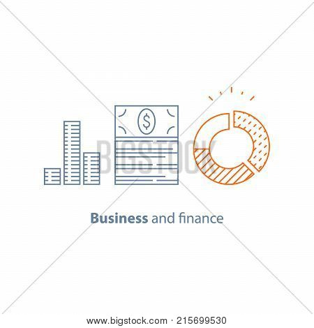 Circle diagram, income increase, financial performance analytics, long term investment, fund management, revenue growth, interest rate, dividends graph, productivity report, vector thin line icon