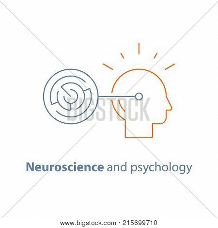 Circle labyrinth, brain training task, logic game, strategic concept, cognitive skills, simple solutions, problem solving, vector line icon, thin stroke