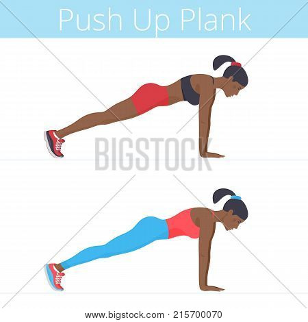 Beautiful young women are doing the push up plank exercise. Flat illustration of afro-american sporty girls are training in the push-up plank position. Vector active people set isolated on white.