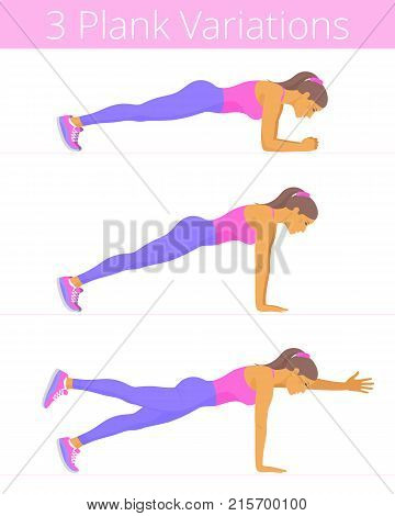 Beautiful white young women are doing the plank exercises. Flat illustration of caucasian sporty girls are training in the plank positions: forearm, push up, two-point. Vector active people set.