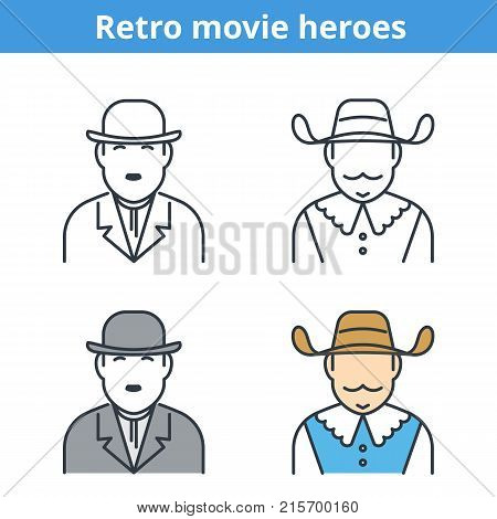 Flat and linear vector avatar set: comic and musketeer. Retro movie outline human userpic collection. Colorful thin line face icons for user profiles, web design, social network and infographics.