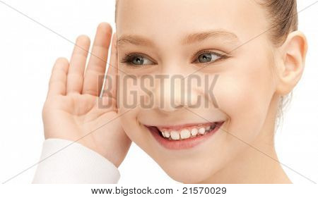 bright picture of teenage girl listening gossip