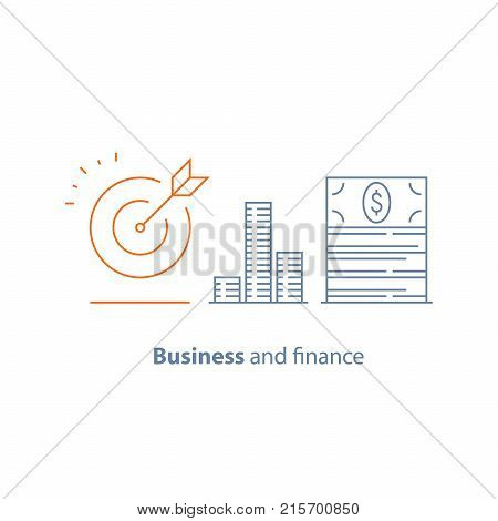 Income increase, financial strategy, high investment return, money bundle, fund raising, long term, pension, revenue growth, interest rate, bond dividends, stock market, vector line icon thin stroke
