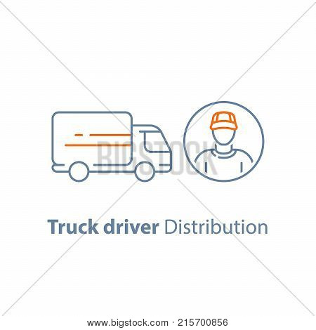 Truck driver, delivery person, distribution service, logistics company, courier man, transportation vehicle, vector line icon, thin stroke