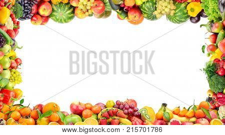 Frame of vegetables and fruits isolated on white background. Copy space