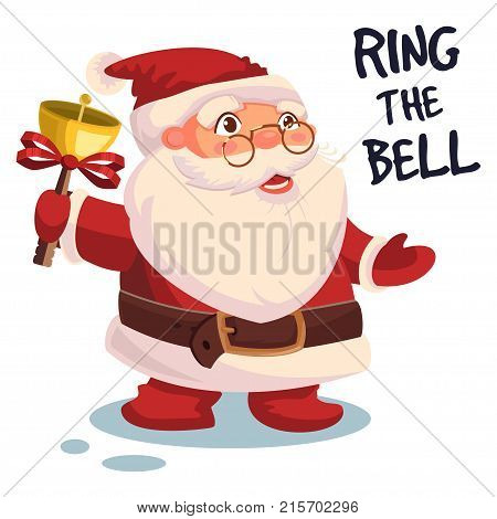 Santa Claus ringing a bell and the text