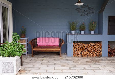Exterior of the barbecue and entertainment patio in the backyard of a contemporary suburban home